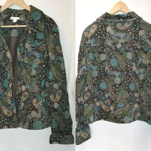 Charter Club Cordoury Paisley Print Jacket XL